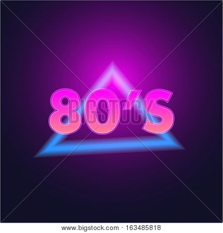 Futuristic poster 80's with light and violet color