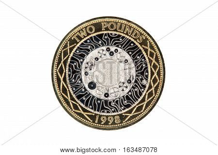 Elizabeth II 1998 Standing on the Shoulders of Giants technology two pound coin of England UK which is still in current use