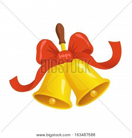 Jingle Bells  Illustration On White Isolated Background. Two Christmas Bells With Red Ribbon And Bow
