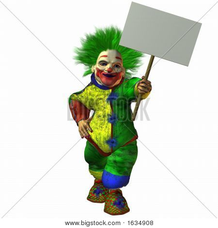 Clown With Sign