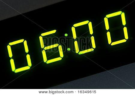 six o'clock on digital display