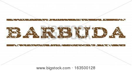 Barbuda watermark stamp. Text caption between horizontal parallel lines with grunge design style. Rubber seal stamp with dust texture. Vector brown color ink imprint on a white background.