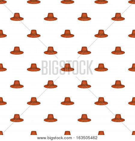 Brown pilgrim hat pattern. Cartoon illustration of brown pilgrim hat vector pattern for web