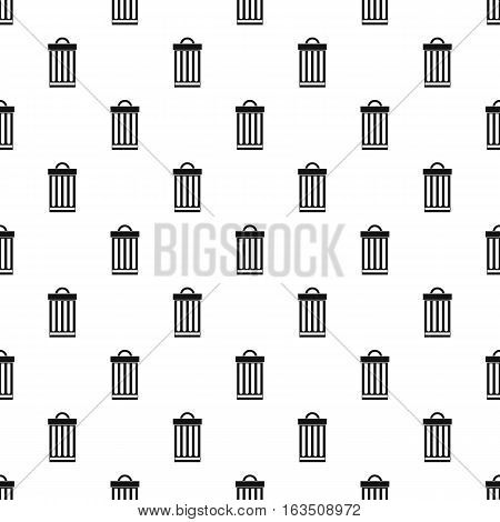 Iron trash can pattern. Simple illustration of iron trash can vector pattern for web