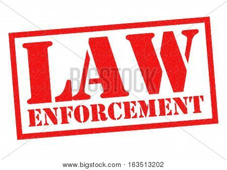 LAW ENFORCEMENT red Rubber Stamp over a white background.