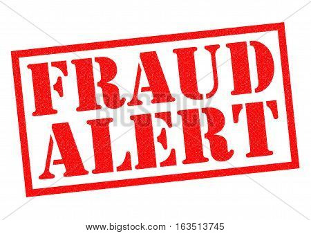 FRAUD ALERT red Rubber Stamp over a white background.