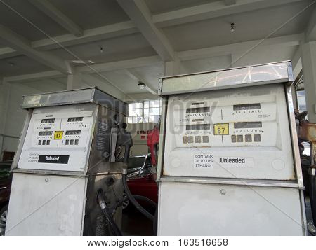 SEATTLE USA - JUNE 25: Old Gas Pump Unleaded in Building on June 25 2016 Seattle Washington.