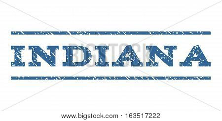 Indiana watermark stamp. Text tag between horizontal parallel lines with grunge design style. Rubber seal stamp with scratched texture. Vector cobalt color ink imprint on a white background.