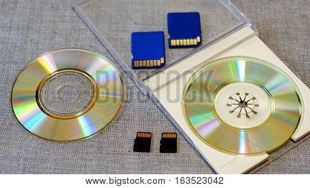 flash drive and memory among the CD