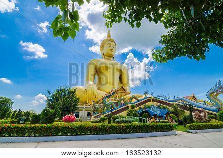 Wat Muang temple at Ang Thong in Thailand big buddha gold .