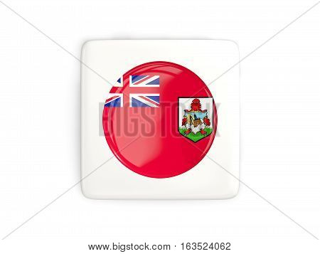 Square Button With Round Flag Of Bermuda
