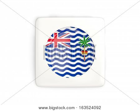 Square Button With Round Flag Of British Indian Ocean Territory