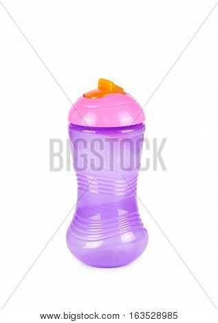 Baby bottle for water isolated on white background