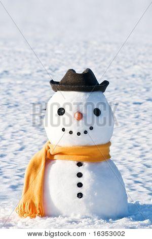 boneco de neve bonito no campo nevado