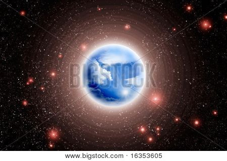 illustration of blue planet and red stars