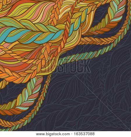 braid hair vector pattern on blue background