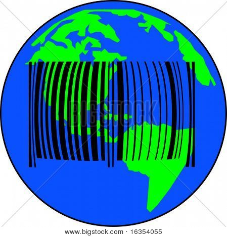 earth with barcode - global sales or international trade - vector