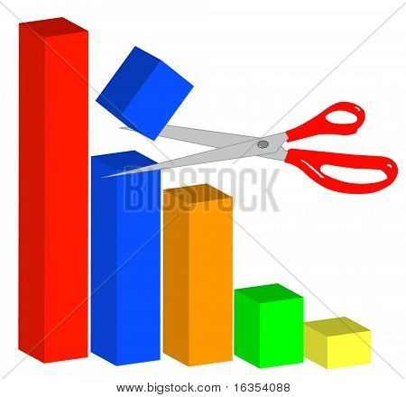 3d graph showing cuts to business model - vector