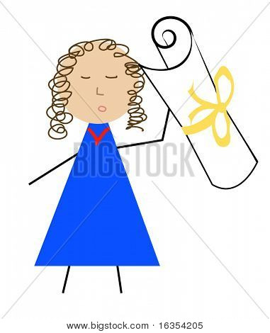 person holding on to award or diploma - vector