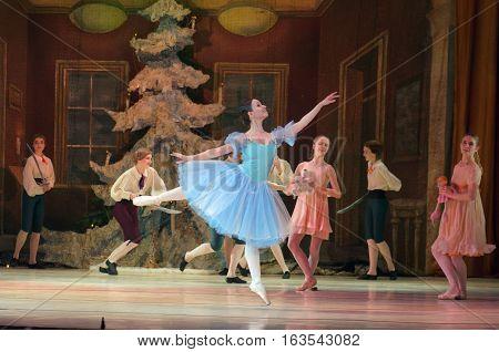 DNIPRO UKRAINE - DECEMBER 30 2016: Nutcracker ballet performed by Dnipro Opera and Ballet Theatre ballet.