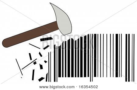 hammer smashing out pieces of barcode - lowering prices