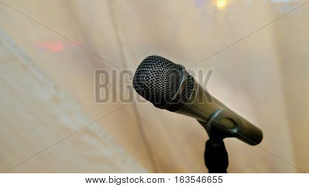 microphone in concert hall or conference room;black and white tone