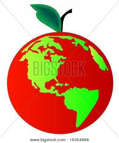 earth or globe with leaf and stem - concept apple earth or beginning of creation