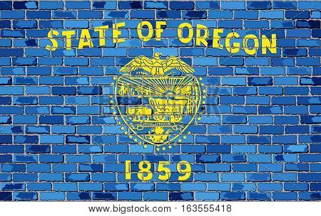 Flag of Oregon on a brick wall with effect - Illustration,  The flag of the state of Oregon on brick background,  Oregon flag in brick style