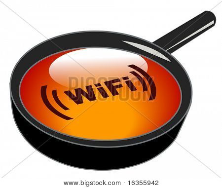 magnifying glass on top of wifi button