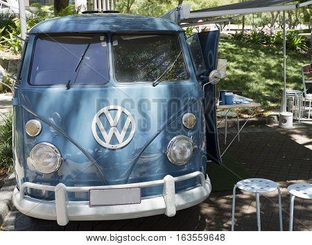 BRISBANE, AUSTRALIA - December 28, 2016: Well preserved and maintained 1966 VW Kombi retro vintage car in Brisbane Australia