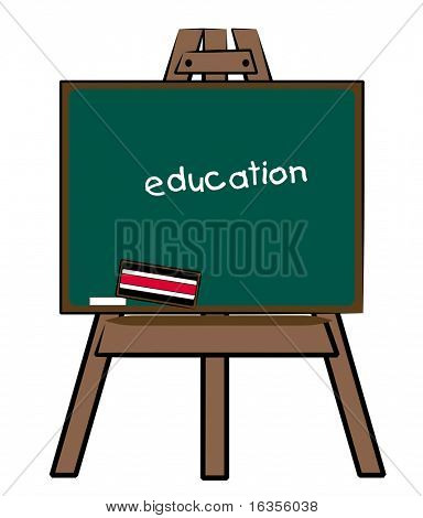 chalkboard easel with the word education written on the board