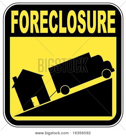 foreclosure sign with truck towing house - crashing house market concept