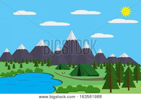Mountains with forest and lake landscape flat vector illustration for camping and hiking Extreme sports outdoor adventure with recreation place tents and fire.