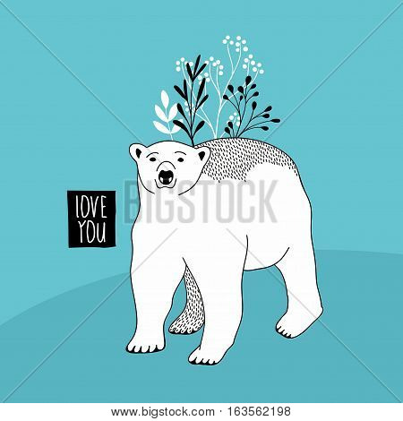 Cute polar bear with floral elements. Vector illustration for the card cover.