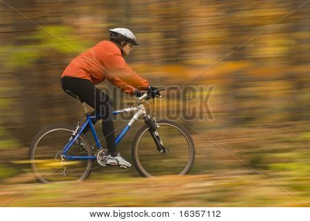 Autumn bike riding, intentional motion blur