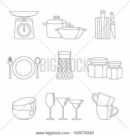Kitchenware flat design line icons vector set