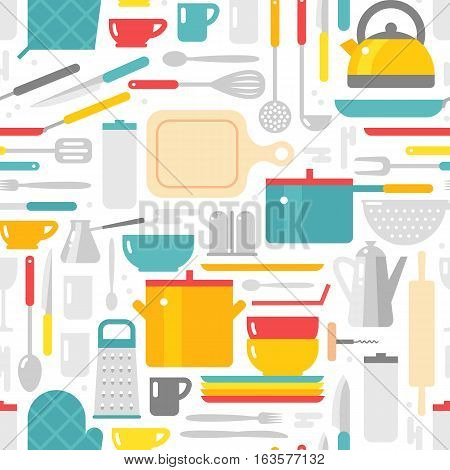 Kitchenware seamless pattern vector. Home tool cutlery equipment background. Household, cooking fork pan wallpaper. Retro accessory cafe symbol graphic.