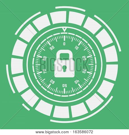 futuristic combination lock on a green background.