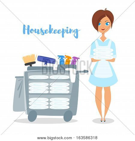 Vector cartoon style illustration of hotel housekeeper. Cute woman holding clean bed linen.