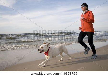 Running with Labrador Retriver