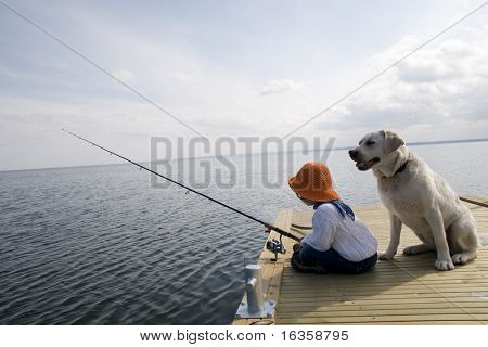 Fishing with Labrador Retriver