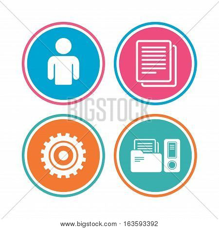 Accounting workflow icons. Human silhouette, cogwheel gear and documents folders signs symbols. Colored circle buttons. Vector