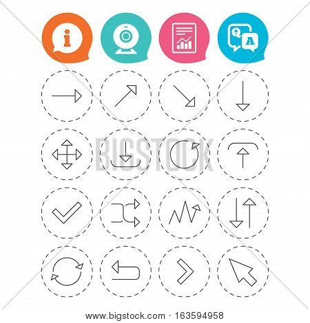 Arrows line icons. Download, upload, check or tick symbols. Refresh, fullscreen and shuffle thin outline signs. Information, question and answer icons. Web camera, report signs. Vector