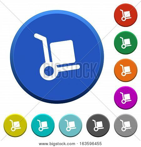Hand truck round color beveled buttons with smooth surfaces and flat white icons