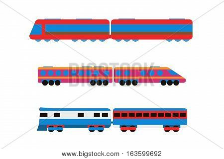 Cartoon toy train with colorful blocks isolated over white vector set. Railroad and cartoon carriage game fun leisure joy gift. Locomotive transportation set.