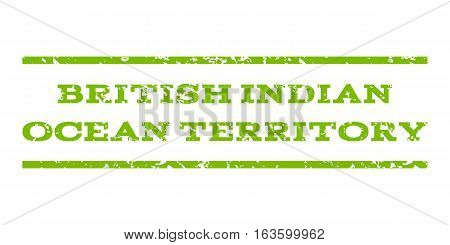 British Indian Ocean Territory watermark stamp. Text caption between horizontal parallel lines with grunge design style. Rubber seal stamp with unclean texture.