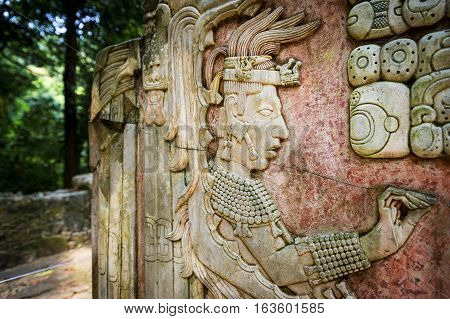 Detail of a bas-relief carving in the ancient Mayan city of Palenque Chiapas Mexico
