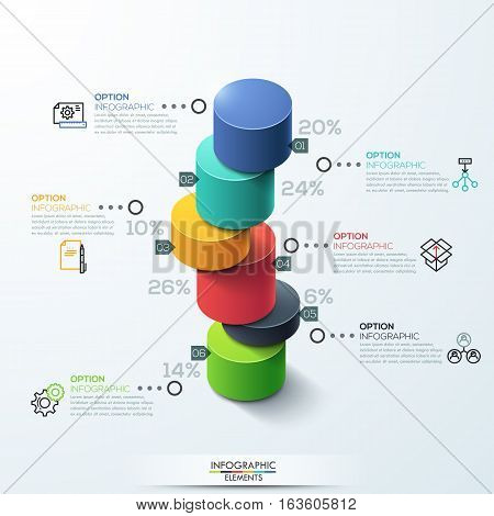Modern infographic template cylinder column chart design. Can be used for workflow layout, banner, number options, step up options, web design.