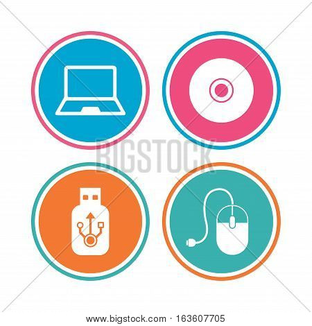 Notebook pc and Usb flash drive stick icons. Computer mouse and CD or DVD sign symbols. Colored circle buttons. Vector
