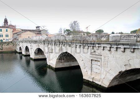 Bridge Of Tiberius Is A Roman Bridge In Rimini, Italy.